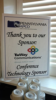 TuWay sponsor sign at APCO event in Lancaster, PA