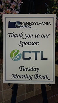 CTL sponsor sign at APCO event in Lancaster, PA